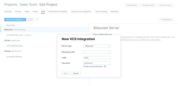 new Bitbucket VCS integration