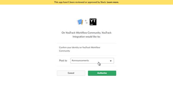 Slack integration post to channel
