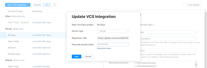 update integration settings