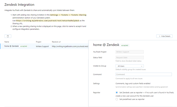 Zendesk integration settings