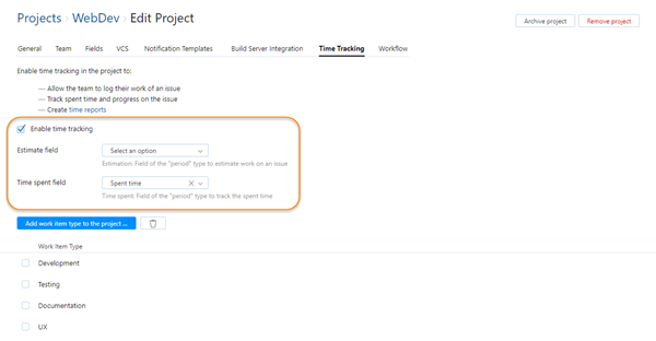 Agile time tracking project settings