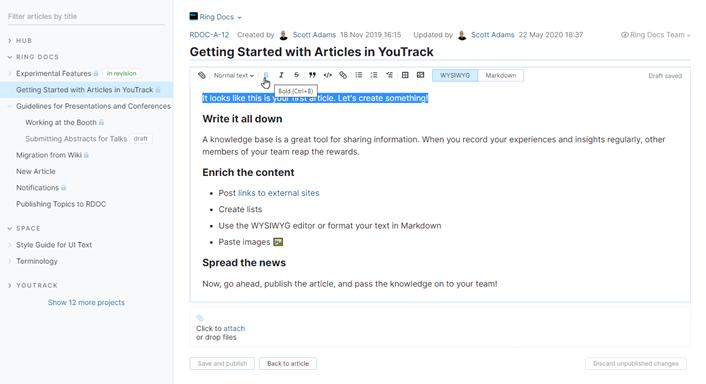 WYSIWYG editing for articles.