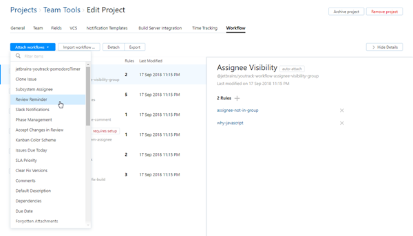 Attach workflow to project
