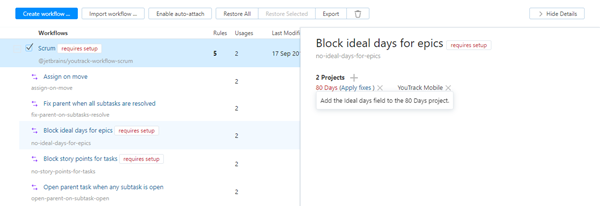 Attach workflows requires setup