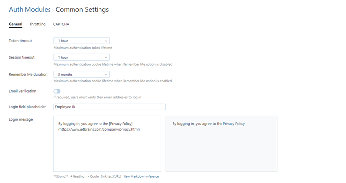 Auth module common settings general