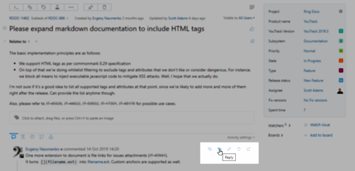 Comment toolbar