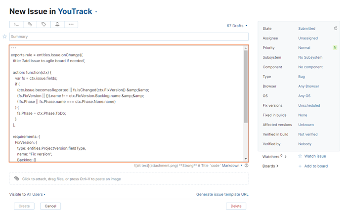 New issue in YouTrack from selected IDE text.