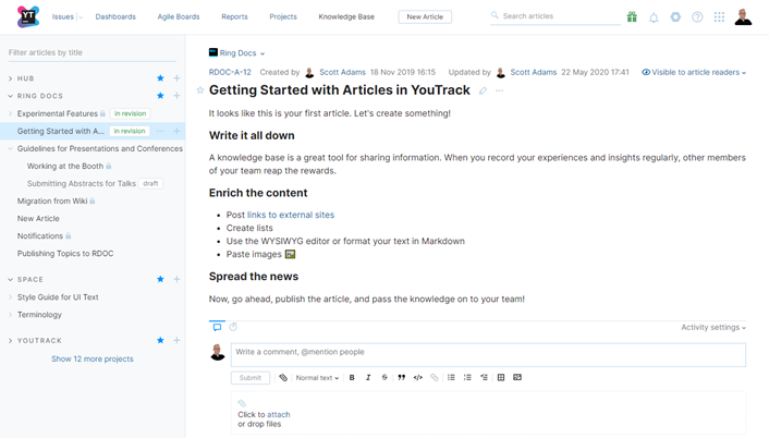 The knowledge base in YouTrack.