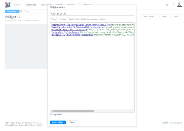 Markdown Notes widget settings