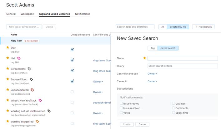 New saved search sidebar