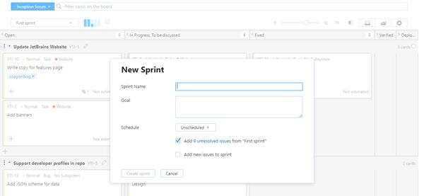 New sprint dialog