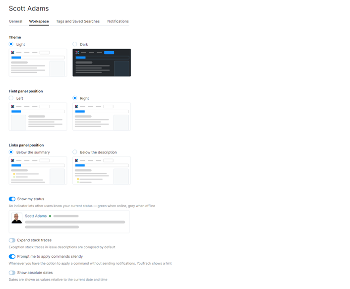 profile workspace settings