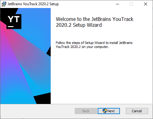 YouTrack setup wizard.