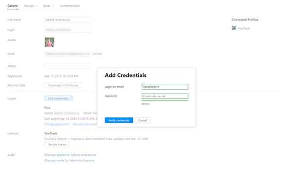Add credentials admin