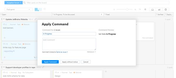 Apply command agile board