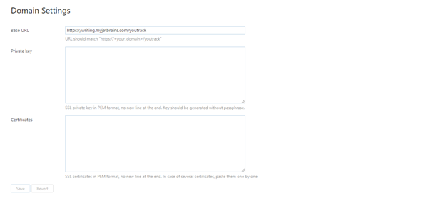 YouTrack InCloud domain settings