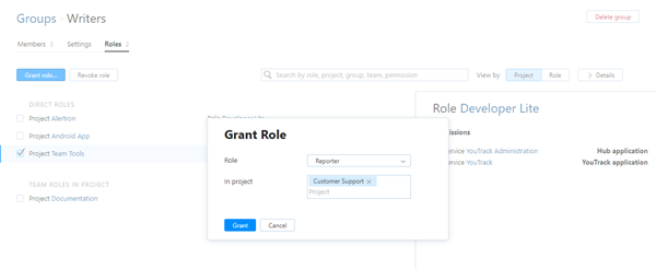 Grant role to group