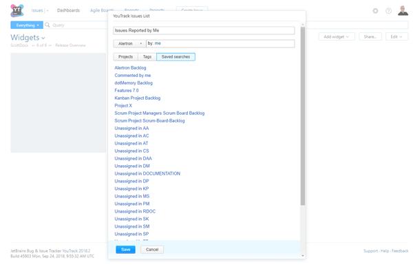 Issues List widget settings