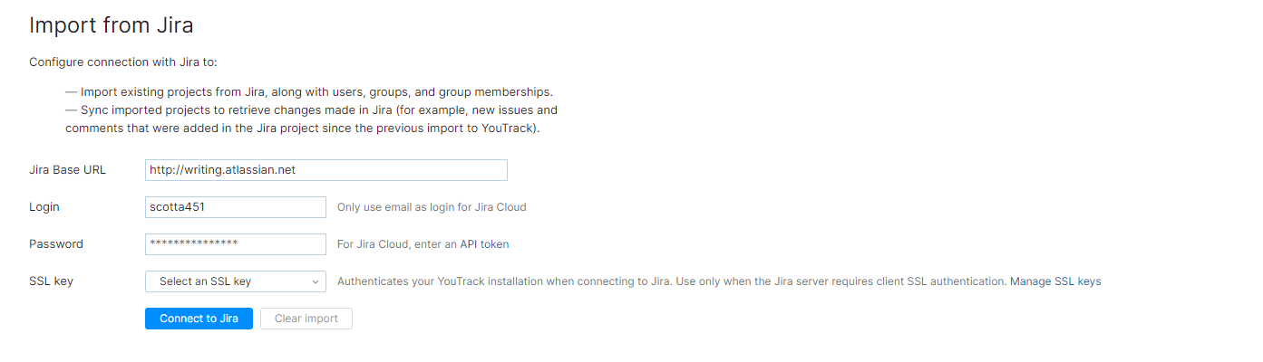 Jira integration settings