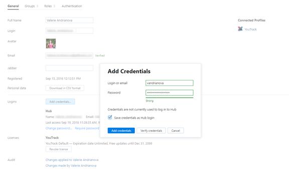 Save credentials as hub login