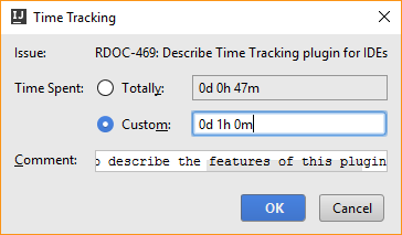 Time tracking integration work item
