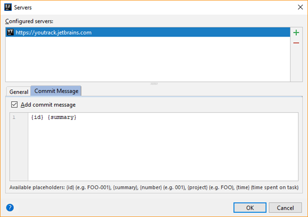 Youtrack integration servers commit message