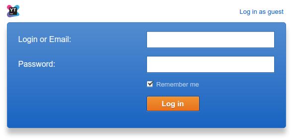 Youtrack login form