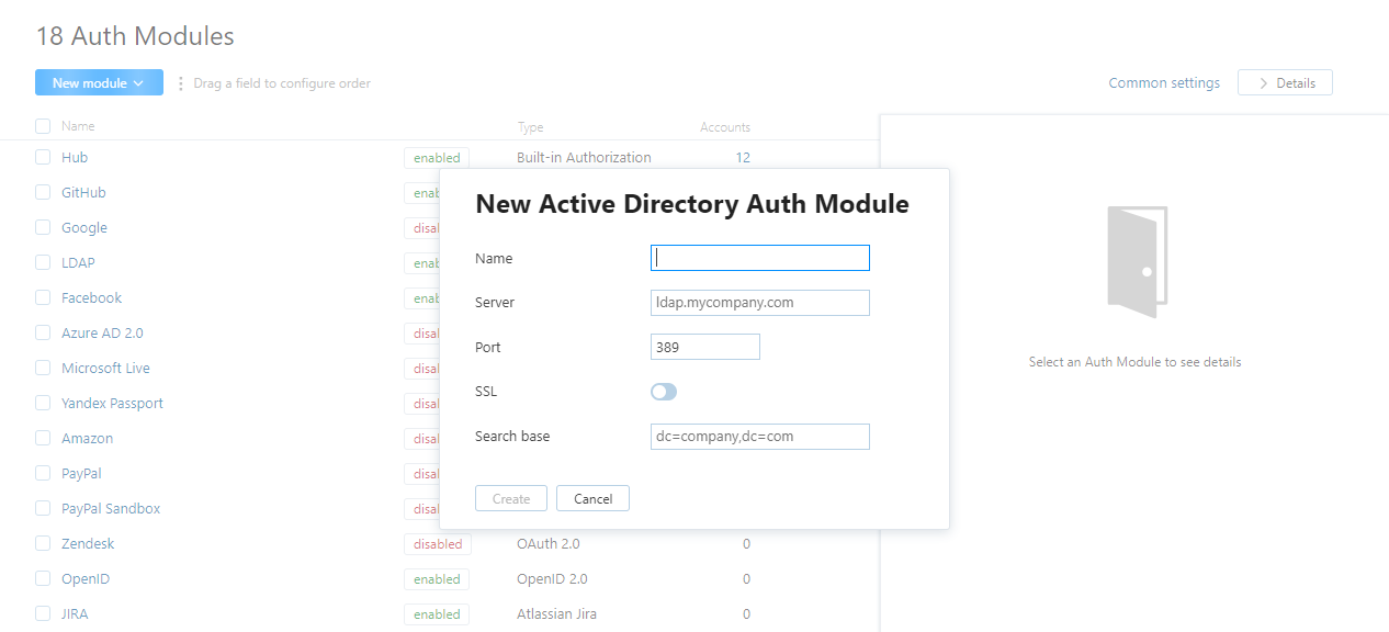 Active directory auth module dialog