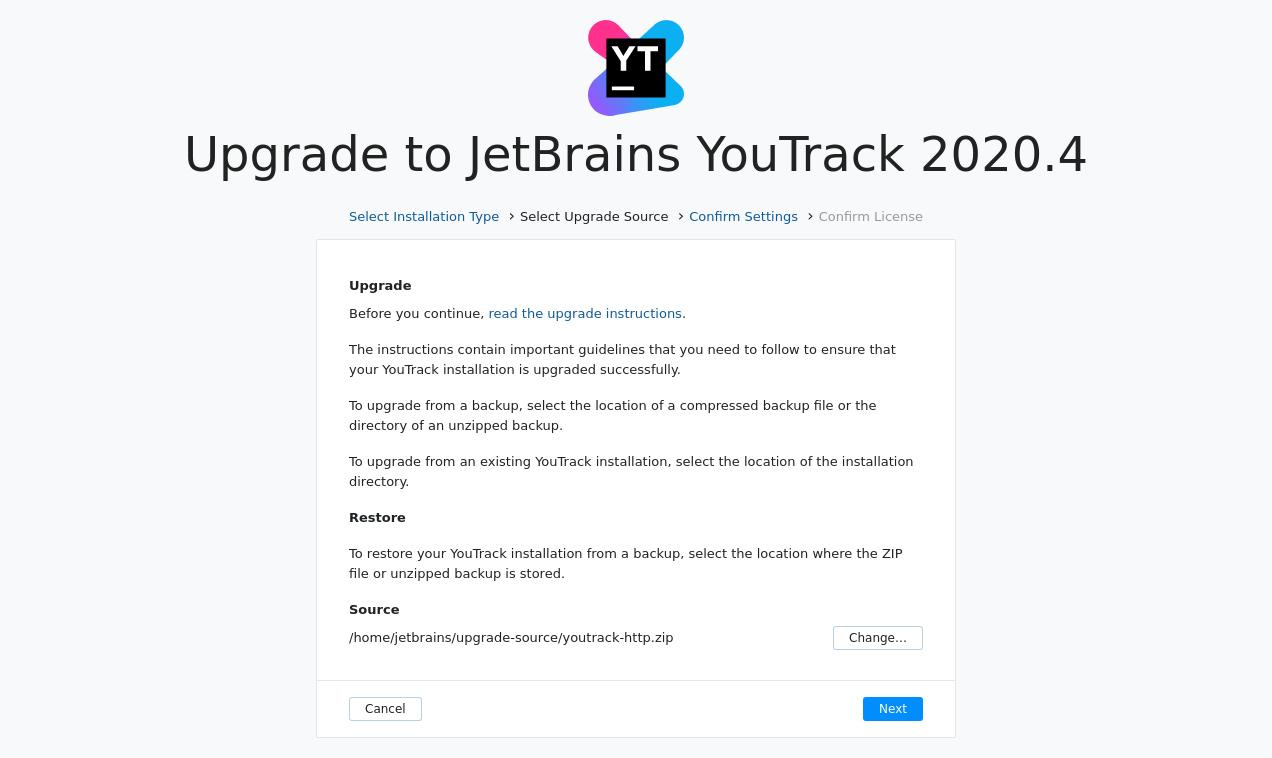 Docker upgrade select source