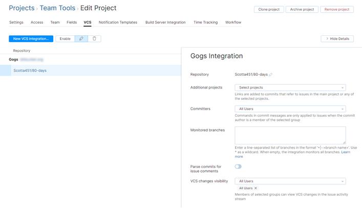 Gogs integration settings