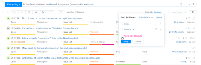 Options for sorting issues in the Issues list