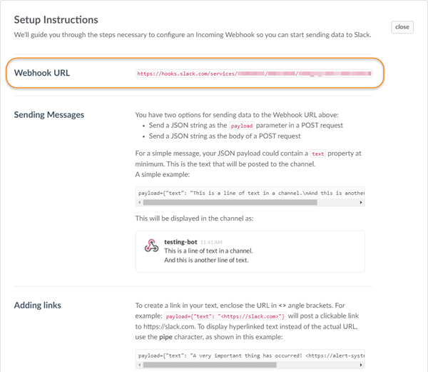Slack notifications setup