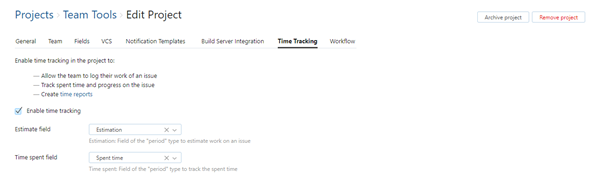 Time tracking settings in project