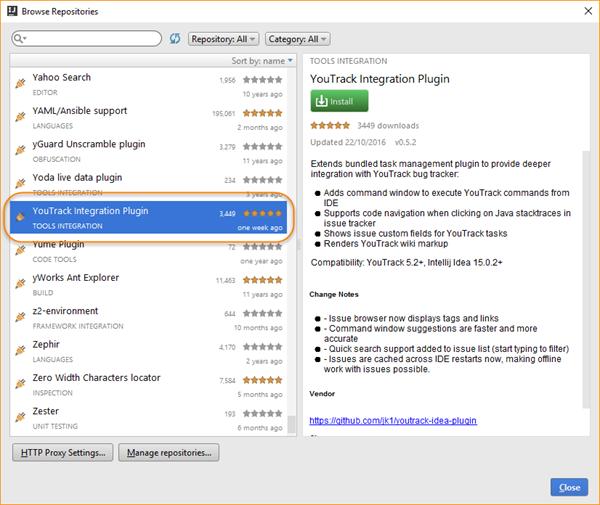 Youtrack integration plugin