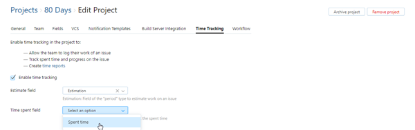 time tracking fields