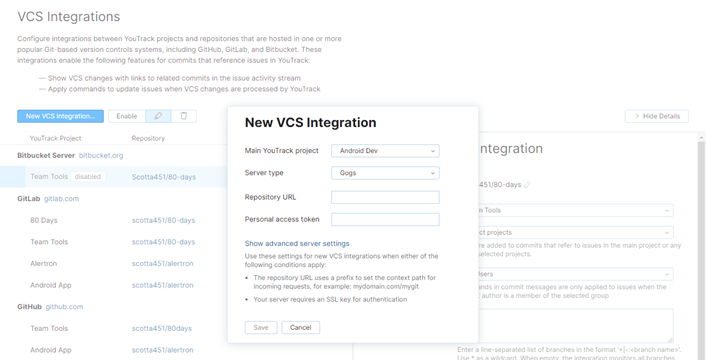 The New VCS Integration dialog for an integration with Gogs.