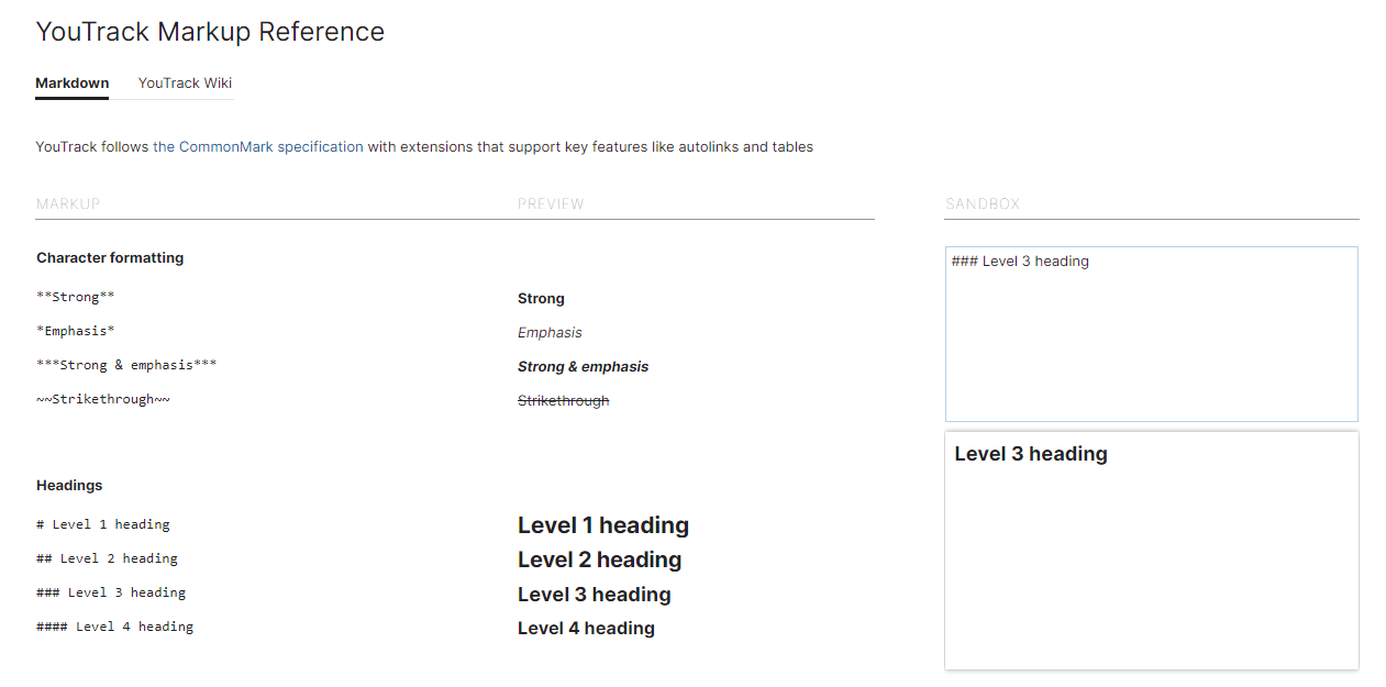 Markup Reference page from Help menu.