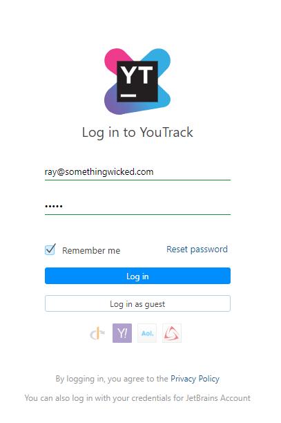 Hub login form
