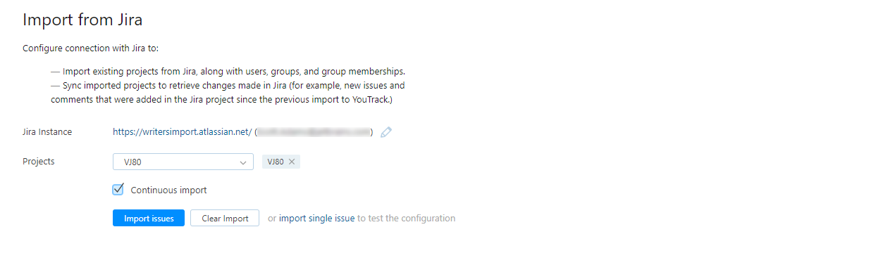 Jira import connected