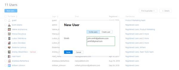 New user dialog invite tab
