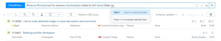Query completion in the search box.