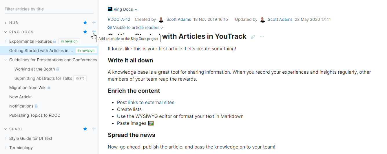 Add an article to a project.