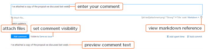 Controls for adding comments in the Issues list.