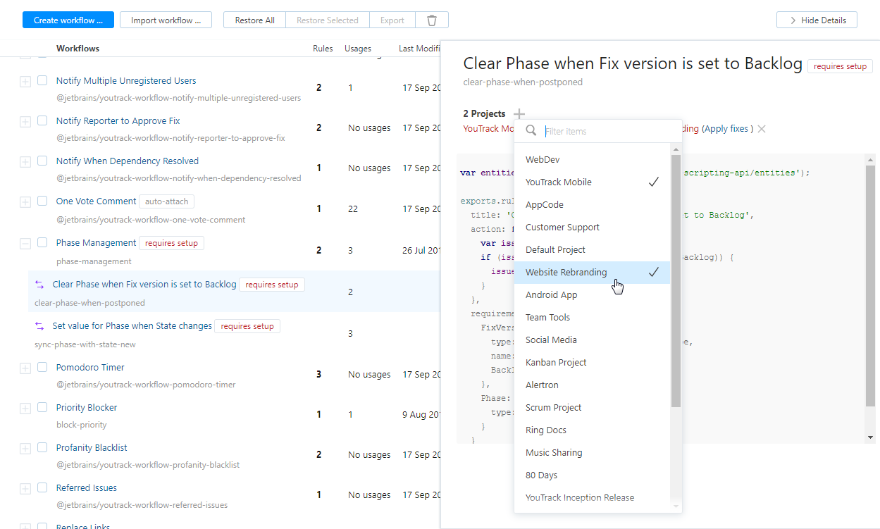Attach workflow rule in project.