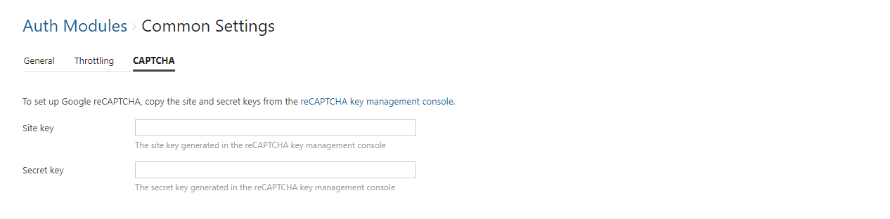 Auth module common settings captcha