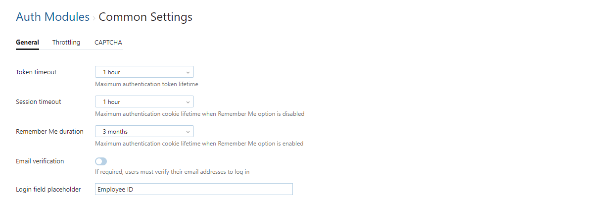 Auth modules common settings incloud