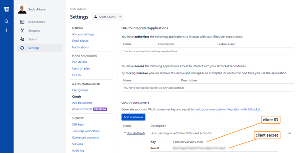 Bitbucket auth registration