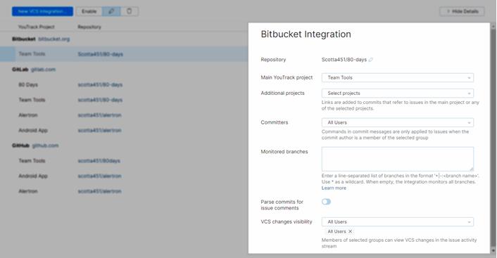 Bitbucket integration settings
