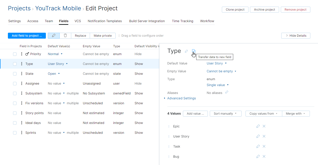 Transfer data to new field in a project.