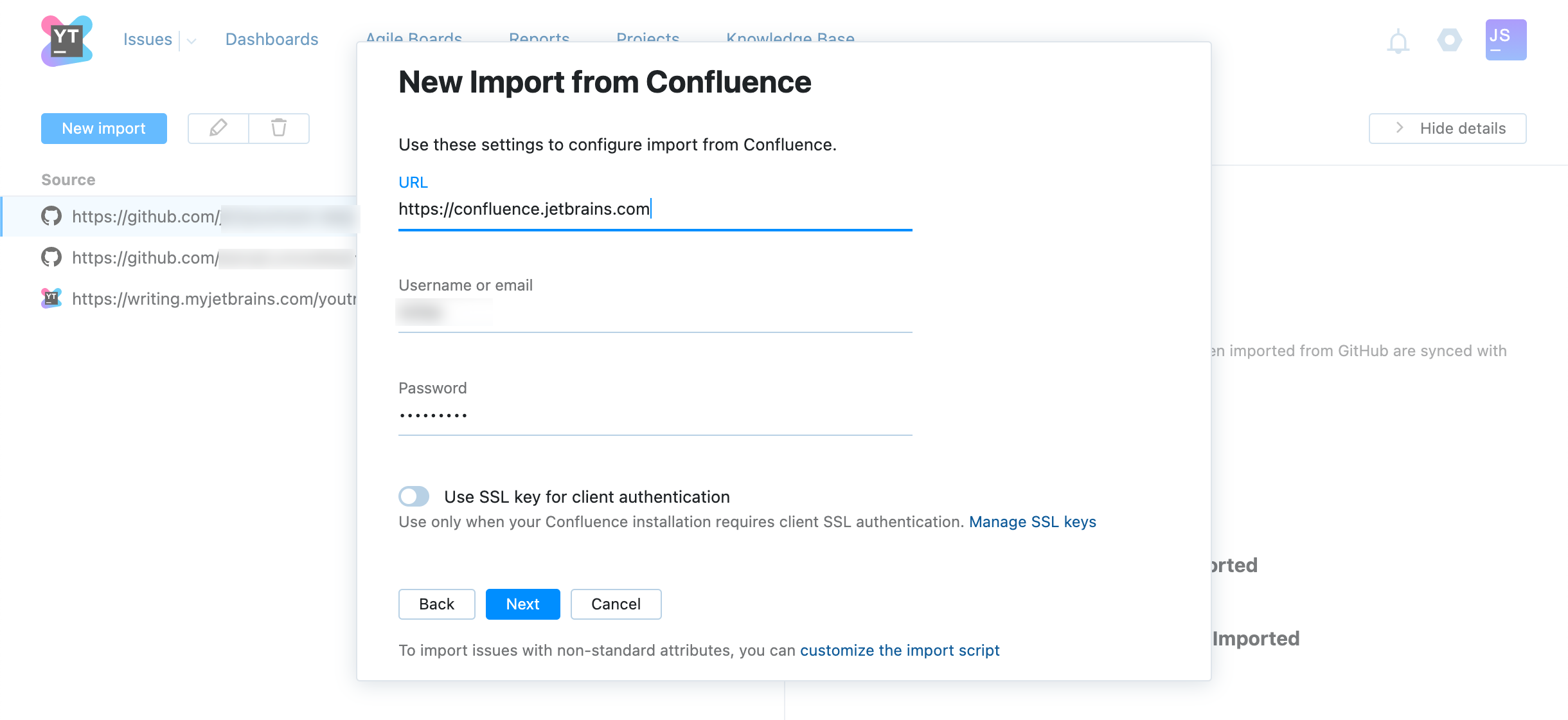 Confluence import settings